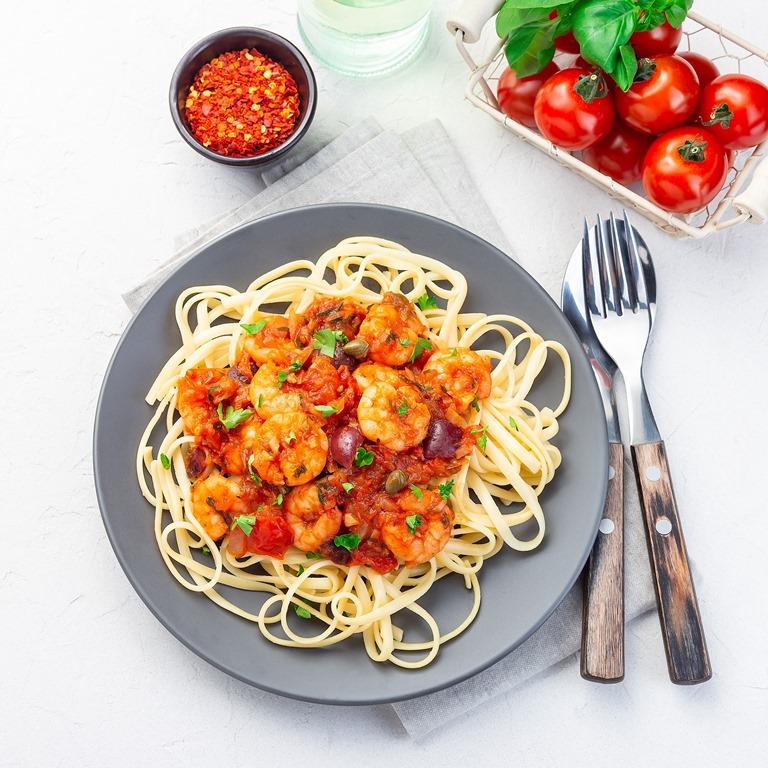 Seafood Spaghetti With Marinara Sauce